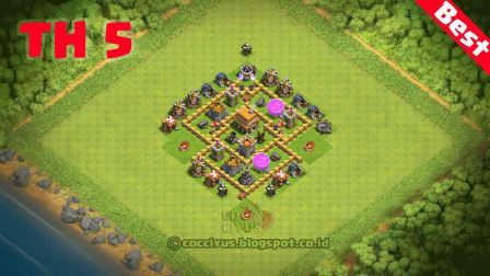 Benteng Pertahanan CoC TH 5 Base Trophy