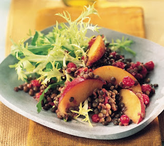 Green Lentils with Peaches and Red Currants Recipe