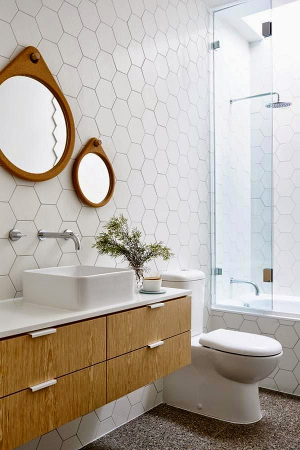 Blanco vintage gresite hexagonal hex tile - Azulejos hexagonales ...