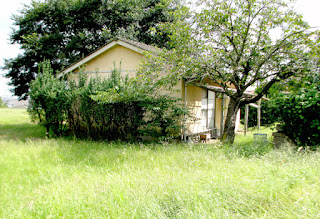 平屋の家がくさはらにぽつんと立っています。
