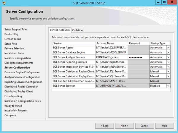 specify server and SQL Server services account