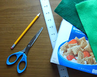 Recycled Cereal Box Christmas Trees Tutorial materials