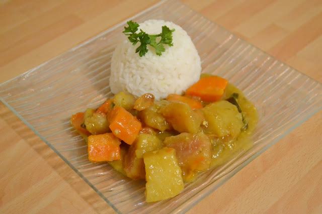 colombo aux légumes végétarien, recette, aubergine