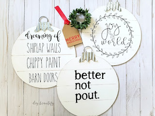 Easy shiplap ornaments made from dollar store items | diybeautify.com