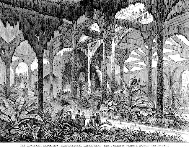 1873 Cincinnati Industrial Exposition mossy gardens, an illustration