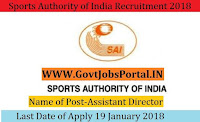 Sports Authority of India Recruitment 2018 – Assistant Director