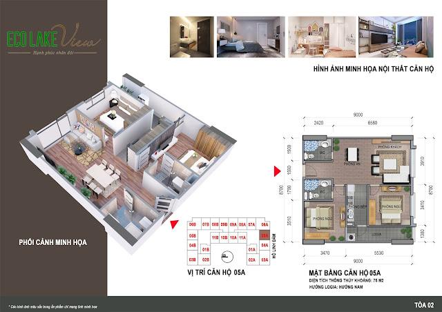 Thiết kế căn hô 05A chung cư Eco Lake View