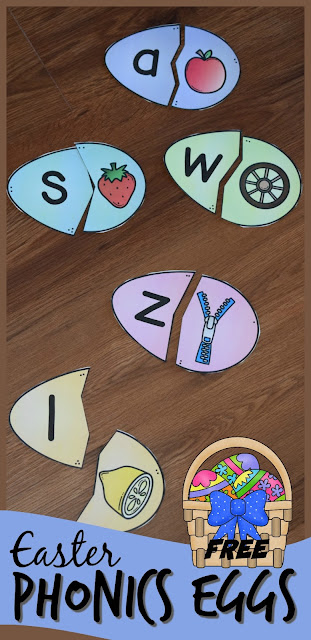 FREE Phonics Easter Eggs - this fun Easter activity for kids is a fun way to practice alphabet letters and the sounds that they make. Includes both long vowel and short vowel alphabet puzzles. This is a fun literacy center, abc game,or at home practice for preschool, prek, kindergarten, and first grade kids. #easterlearning #phonics #kindergarten