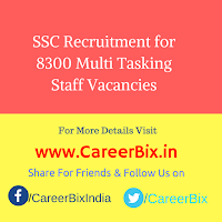 SSC Recruitment for 8300 Multi Tasking Staff Vacancies