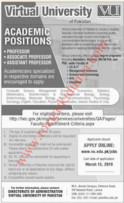 Virtual University of Pakisatn Jobs For Teaching Staff 2020-Latest