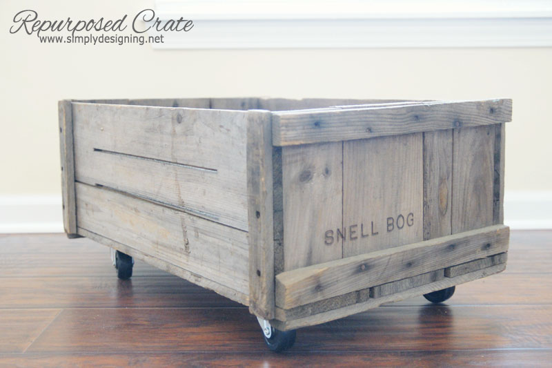 Repurposed Crate | learn how to make a vintage crate into a rolling home storage option - simply | #diy #crate #storage