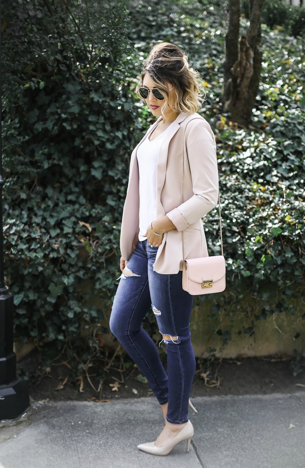 blush pink blazer, styled adventures blog