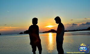 sunset di pulau bulat saat open trip pulau harapan