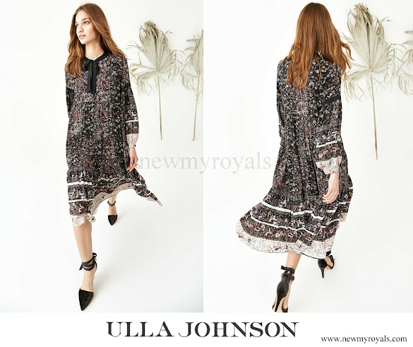 Princess Mette-Marit wore Ulla Johnson Isabetta Printed Silk A-line Dress