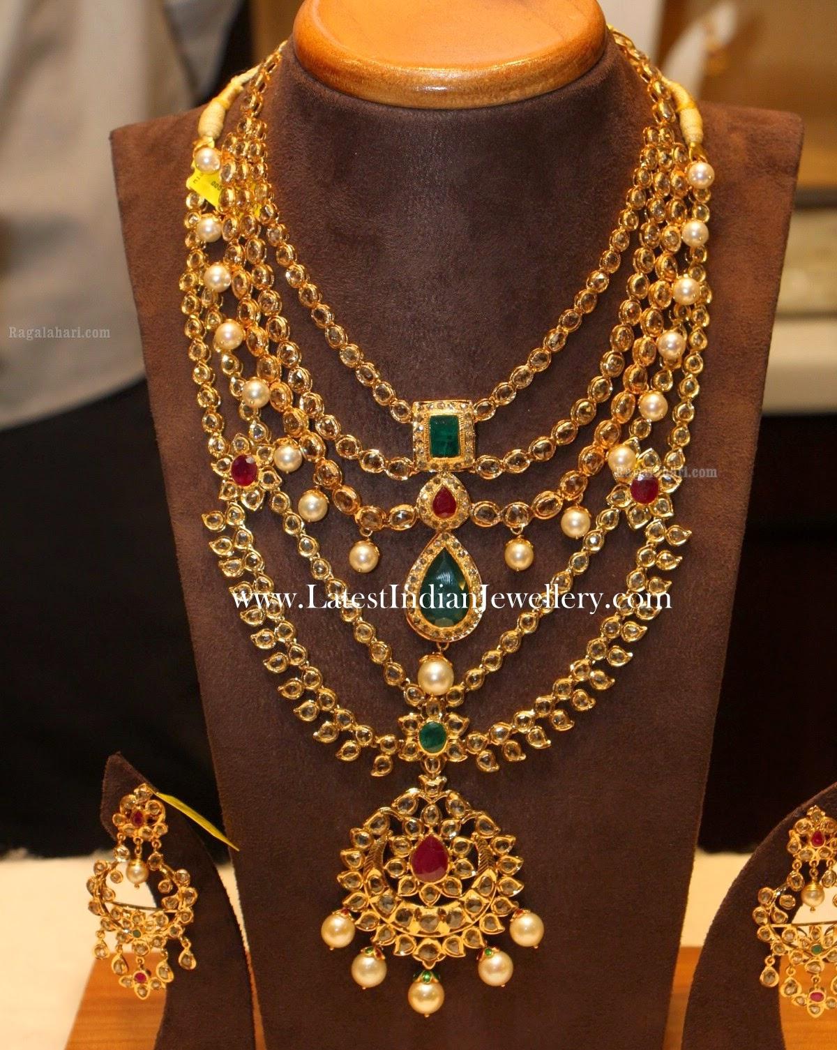Latest Gold Bridal Jewellery Sets with Uncut Diamonds