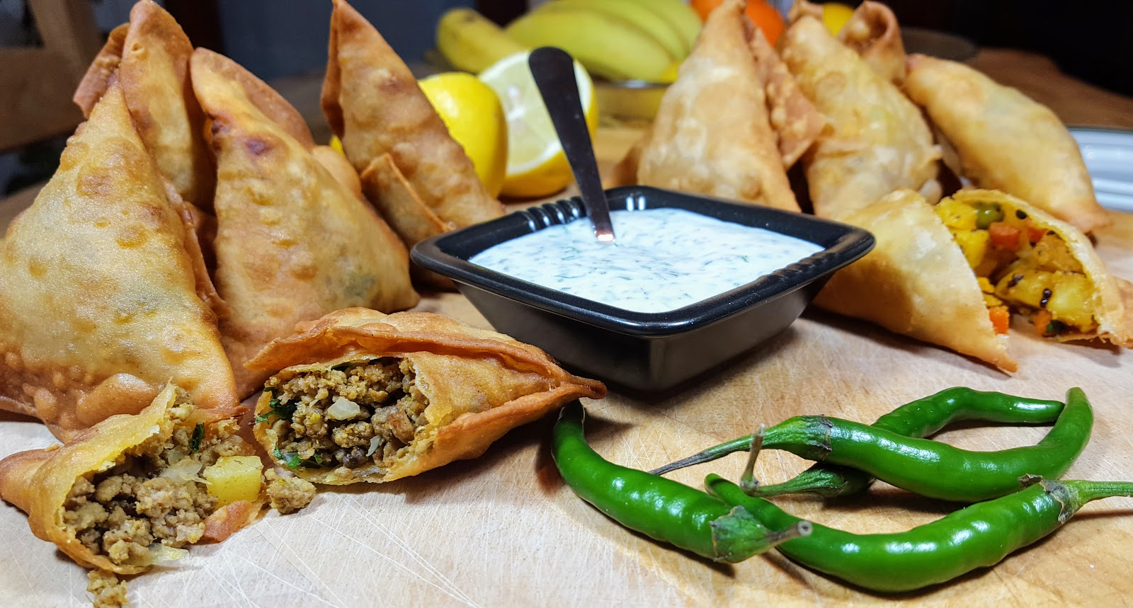 Rekha 39 s garden and kitchen home made samosas for Canape fillings indian