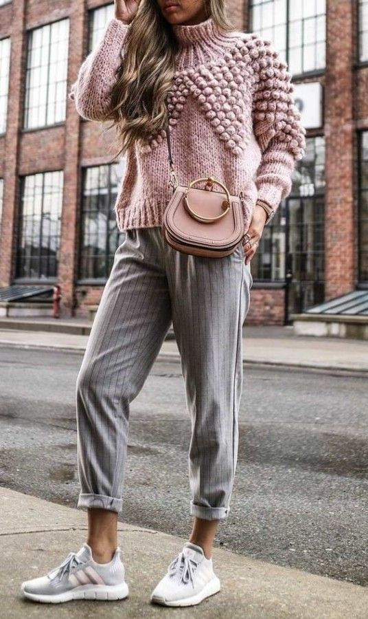 casual outfit inspiration / pink knit sweater + crossbody bag + striped pants + sneakers