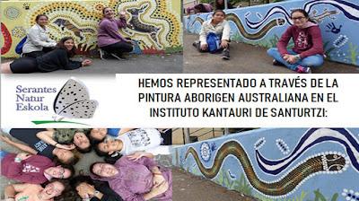 Mural aborigen australiano en el Instituto Kantauri