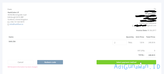 Bukti Pembayaran HashFlare