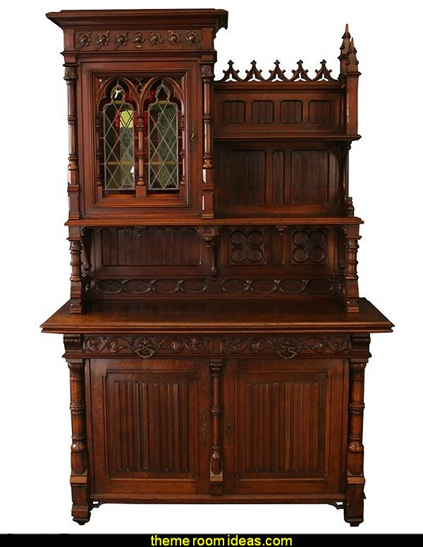 Antique French Gothic Buffet  Gothic style bedroom decorating ideas - Gothic furniture - Gothic chic - Victorian Gothic boudoir themed decor  - Gothic Beds -  Gothic Seating - Gothic Lighting - Designing a Gothic Room - Goth style for teens - Gothic Victorian Bedroom Theme - vampire themed bedroom decorating ideas - Gothic Wall Murals - gothic living room - Gothic bedding -  Gothic wall decorations