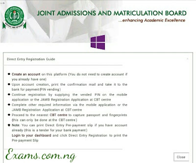 Jamb Direct Entry 2017