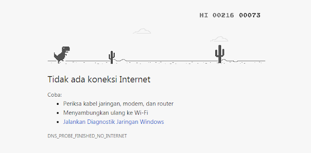 game dinosaurus di google chrome