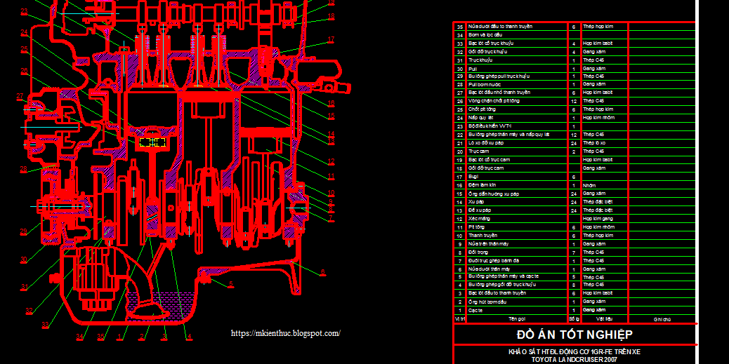 Bản vẽ hệ thống đánh lủa động cơ 1GR-FE