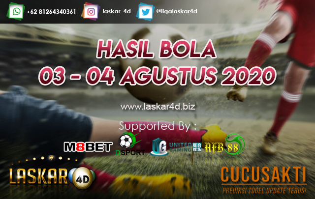 HASIL BOLA JITU TANGGAL 03 - 04 AGUSTUS 2020