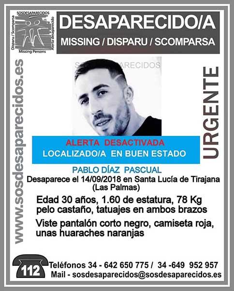 Localizado en buen estado hombre de 30 años en Santa Lucía de Tirajana, Pablo Díaz Pascual