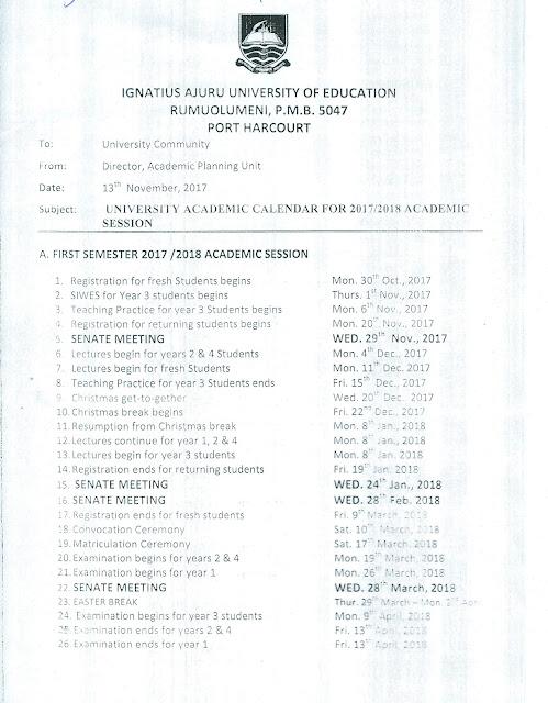 IAUE Academic Calendar Schedule - page 1