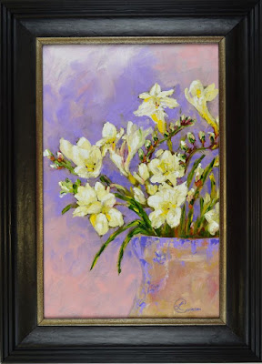 http://paintingsbylyndacookson.blogspot.fr/2016/11/freesias-in-lilac-by-lynda-cookson.html