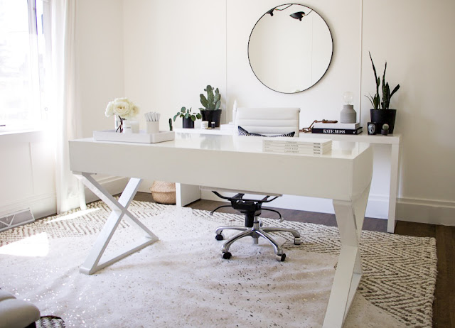 Erica Cook Home Office Update Desk Mirror Area rugs