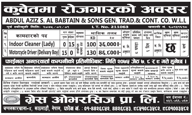 Jobs in Kuwait for Nepali, Salary Rs 46,800