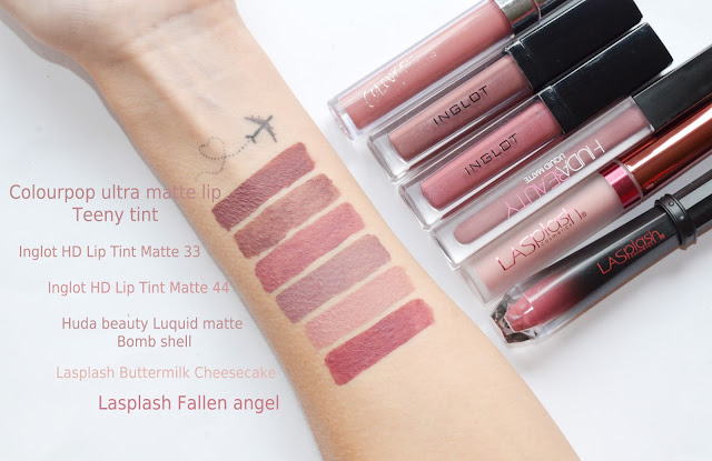 Colourpop ultra matte lip  Teeny tint Inglot HD Lip Tint Matte 33 Inglot HD Lip Tint Matte 44 Huda beauty Luquid matte Bomb shell  Lasplash Buttermilk Cheesecake  Lasplash Fallen angel