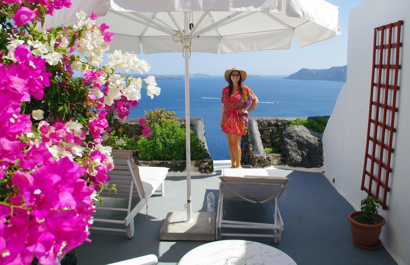 Girl at Nostos Apartments Oia Santorini