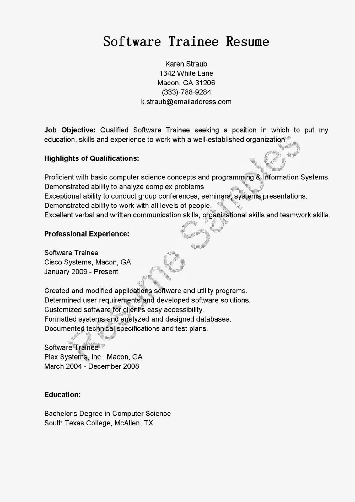 resume sles software trainee resume sle