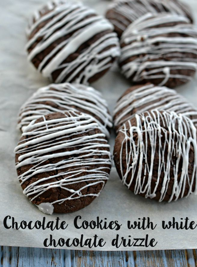 Chocolate Cookies with White Chocolate Drizzle.  These make for an amazing gift or bring to a potluck to impress your friends, coworkers and family.