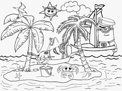 Beautiful holiday resort artificial landscape tropical Island Minion beach sands coloring book pages