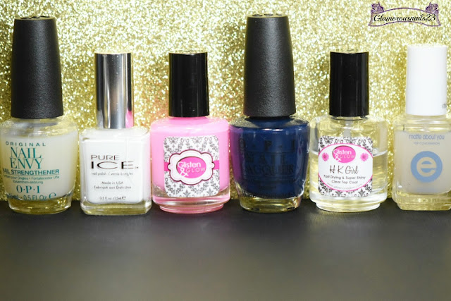 O.P.I Original Nail Envy, Pure Ice Superstar! Glisten & Glow CTRL+ALT+DEL, O.P.I Incognito In Sausalito, Glisten & Glow HK Girl Fast Drying Top Coat, Essie Matte About You