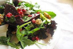 Beetroot, Leek and Walnut Salad
