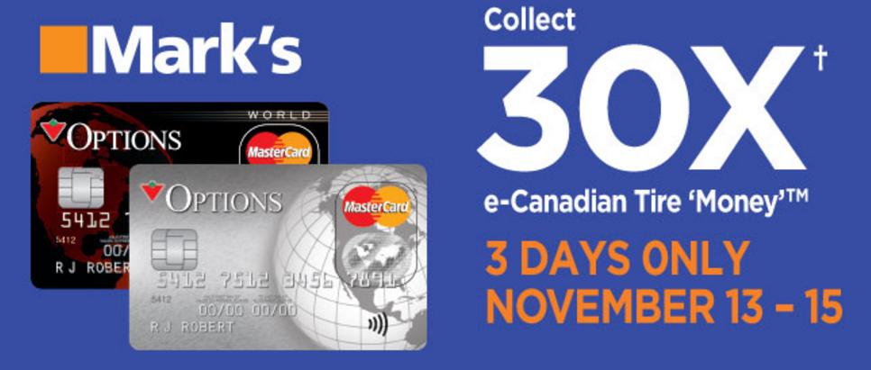 Canadian Tire Mastercard >> Canadian Rewards Mark S Earn 30x E Canadian Tire Money
