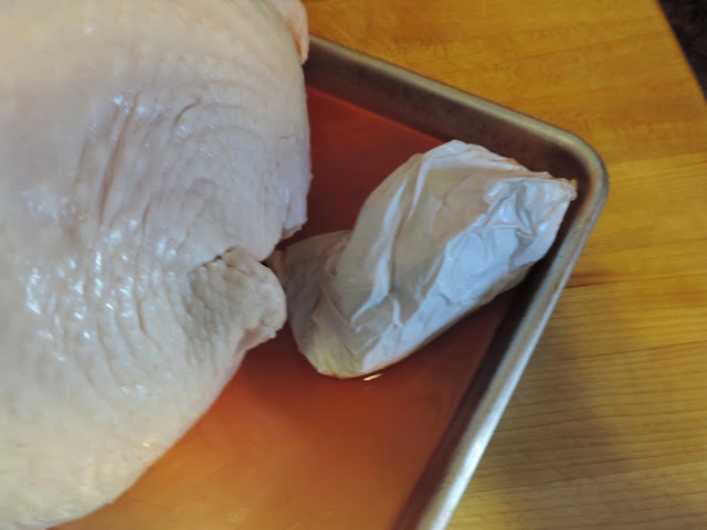 The giblet removed from the turkey.