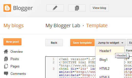 Jump to Widget Blogger