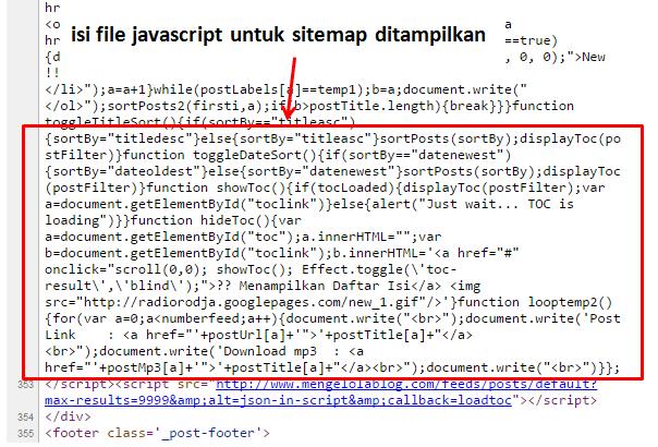 isi file javascript sitemap ditampilkan