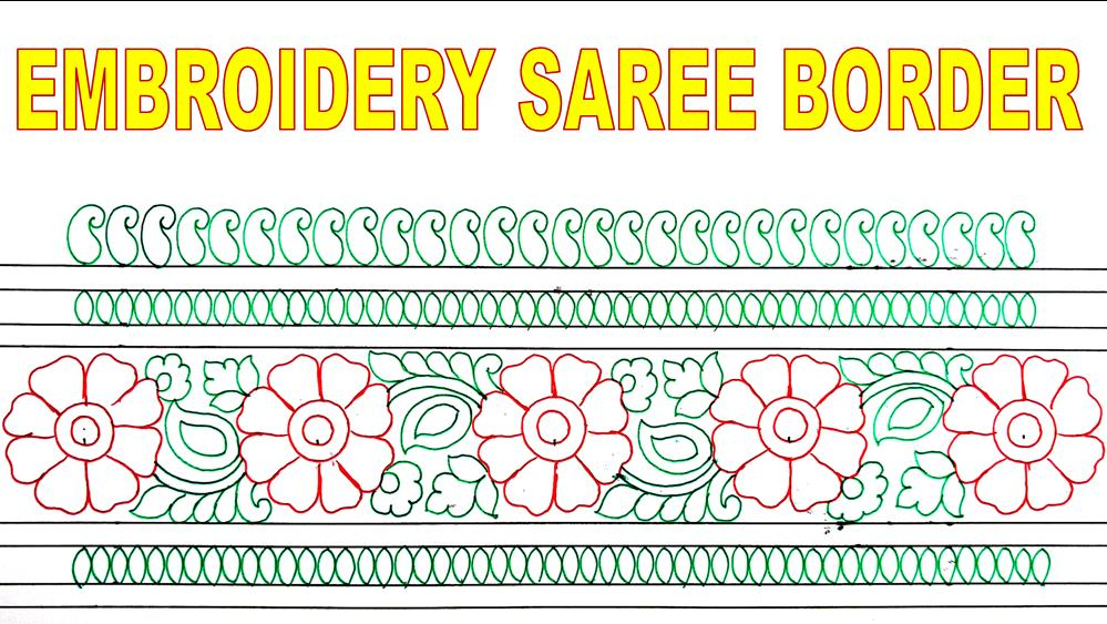 How To Draw Embroidery Border Design For Saree Jana Art