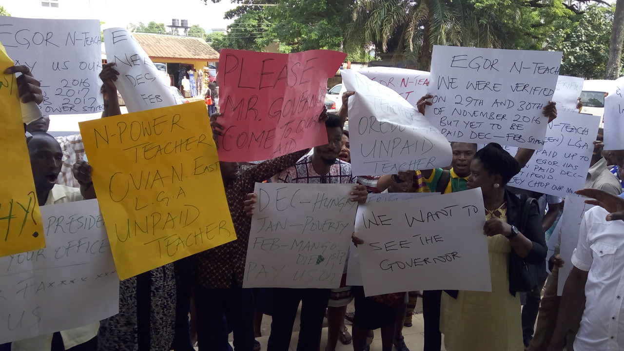 Entertainmentplus: N-Power beneficiaries protest non-payment of stipend