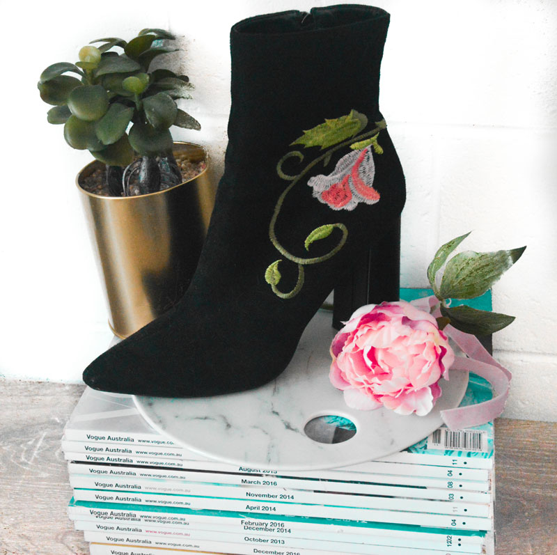 black embroidered ankle boots sock boots boohoo