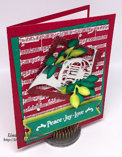 Linda Vich Creates: Peace, Joy, and Love. A colorful and festive card that uses the Musical Instruments Framelits and the Sheet Music stamp set.