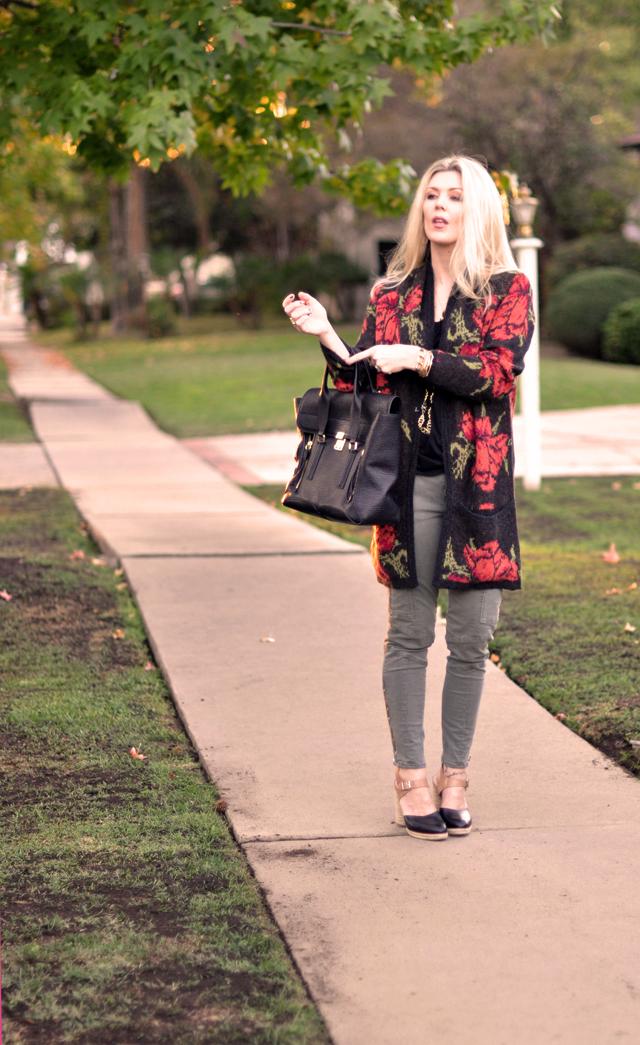 casual outfit, long rose print cardigan