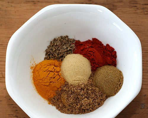 Spices for Moroccan Chicken ♥ KitchenParade.com, one-pot chicken stew braised with eggplant in a sauce perfumed with Morrocan-style spices.